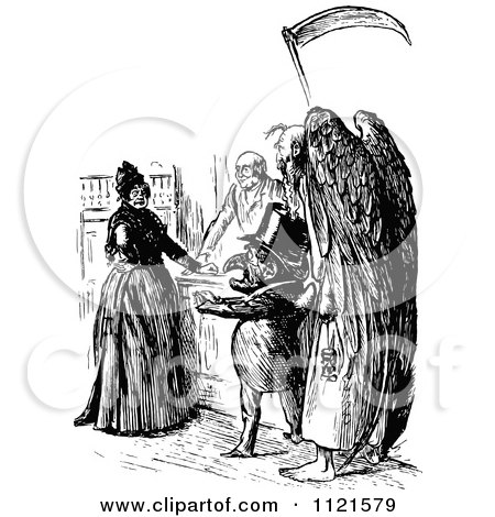 Retro Vintage Black And White Grim Reaper By A Lady Posters, Art Prints