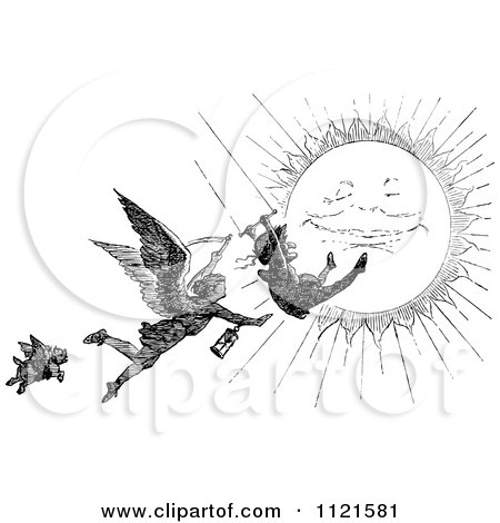 Retro Vintage Black And White Grim Reaper Chasing A Swinging Man Over The Sun Posters, Art Prints