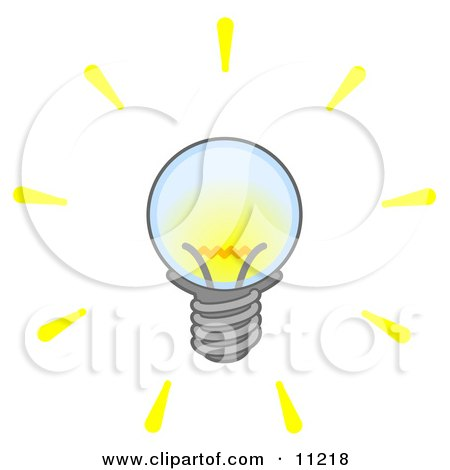 Bright Electric Light Bulb Clipart Illustration by Leo Blanchette