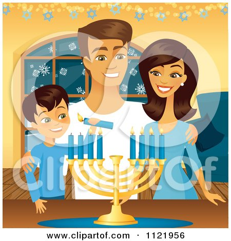 Clipart Of A Happy Jewish Family Lighting Their Hanukkah Menorah Candles - Royalty Free Vector Illustration by Amanda Kate