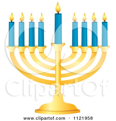 Clipart Of A Golden Hanukkah Menorah With Blue Candles - Royalty Free Vector Illustration by Amanda Kate