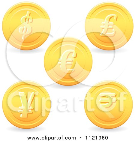 Clipart Of 3d Golden Currency Coins - Royalty Free Vector Illustration by Amanda Kate
