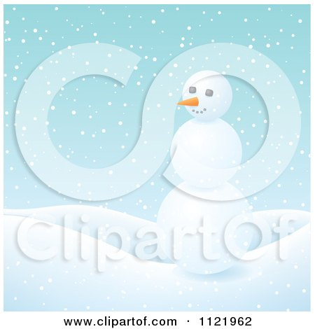 Clipart Of A Three Ball Snowman In The Snow - Royalty Free Vector Illustration by Amanda Kate