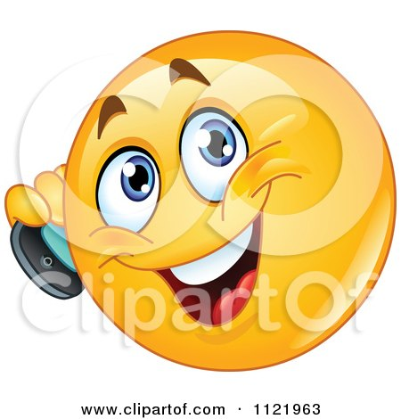 Cartoon Of A Chatty Emoticon Using A Cell Phone - Royalty Free Vector Clipart by yayayoyo