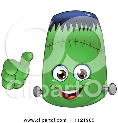 Cartoon Of A Halloween Frankenstein Emoticon Holding A Thumb Up - Royalty Free Vector Clipart by yayayoyo