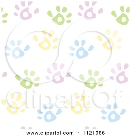 Cartoon Of A Seamless Pastel Hand Print Background Pattern - Royalty Free Vector Clipart by yayayoyo