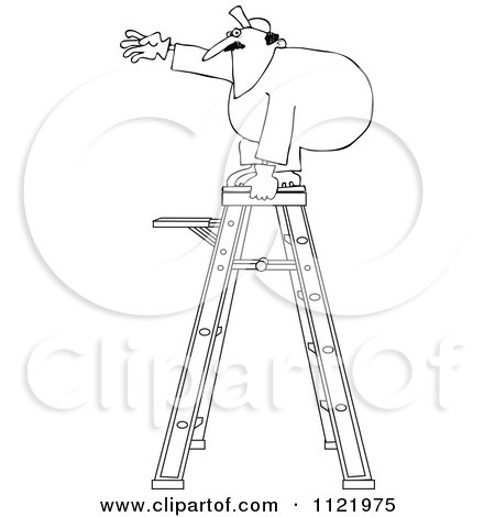 Cartoon Of An Outlined Worker Standing Unsteady On A Ladder - Royalty Free Vector Clipart by djart
