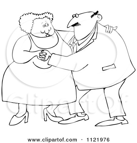 Cartoon Of An Outlined Chubby Old Couple Dancing - Royalty Free Vector Clipart by djart