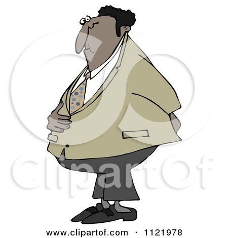 Cartoon Of A Black Businessman Holding His Stomach And Behind - Royalty Free Clipart by djart