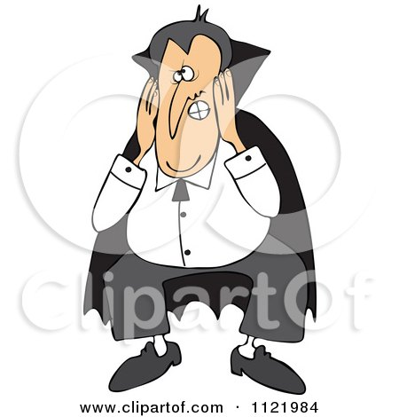 Cartoon Of A Halloween Vampire Covering His Ears - Royalty Free Vector Clipart by djart