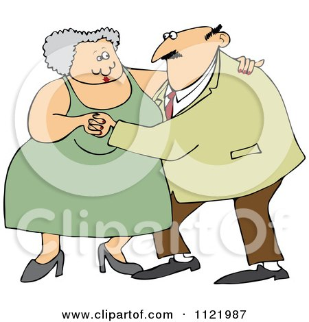 Cartoon Of A Chubby Old Couple Dancing - Royalty Free Vector Clipart by djart
