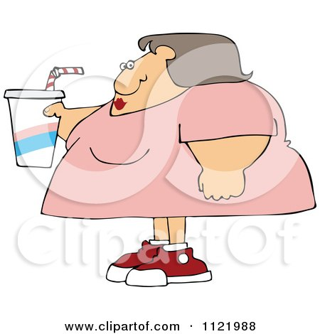 Cartoon Of An Obese Woman Holding A Fountain Soda - Royalty Free Vector Clipart by djart