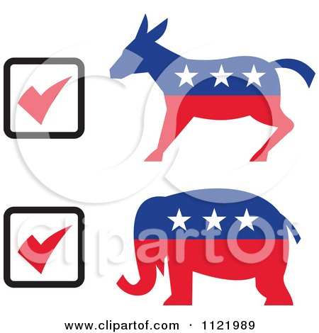Clipart Of Retro Voting Check Boxes With Republican Elephant And Democratic Donkey - Royalty Free Vector Illustration by patrimonio