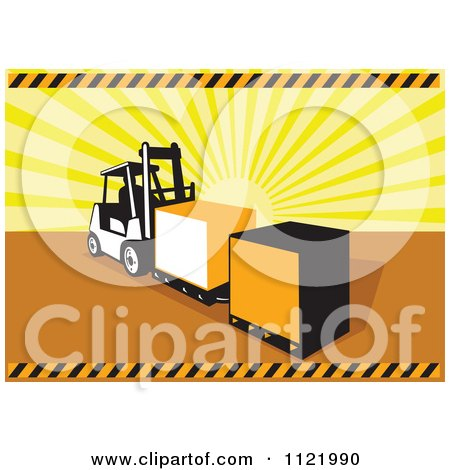 Clipart Of A Retro Forklift Moving Crates Over Sun Rays - Royalty Free Vector Illustration by patrimonio
