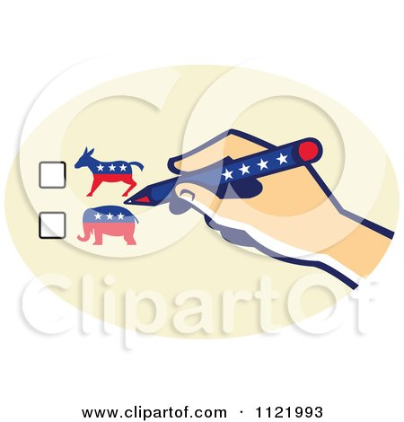 Clipart Of A Voters Hand Over Republican Or Democrat Ballot Check Boxes - Royalty Free Vector Illustration by patrimonio
