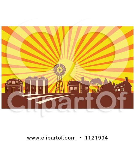 Clipart Of A Retro Woodcut Farm With A Windmill House Barn And Silos At Sunrise - Royalty Free Vector Illustration by patrimonio