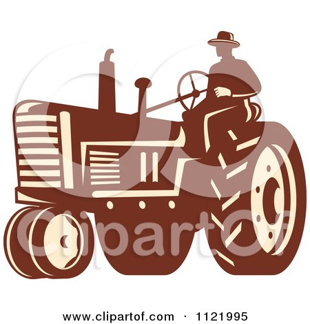 Clipart Of A Retro Farmer On A Tractor Royalty Free Vector