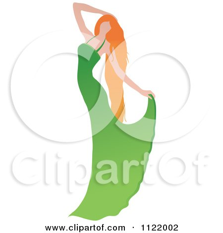 Clipart Of A Graceful Red Haired Woman Dancing In A Bridal Gown - Royalty Free Vector Illustration by Pams Clipart