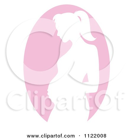 Clipart Of A Pink Pregnant Mother Silhouette Cameo - Royalty Free Vector Illustration by Pams Clipart