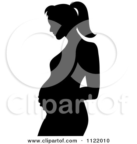 Clipart Of A Black Silhouette Of A Pregnant Mother Holding Her Belly - Royalty Free Vector Illustration by Pams Clipart