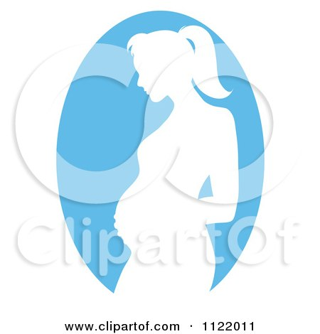 Clipart Of A Blue Pregnant Mother Silhouette Cameo - Royalty Free Vector Illustration by Pams Clipart