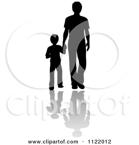 Clipart Of A Silhouetted Father And Son Holding Hands With Shadows| Royalty Free Vector Illustration by Pams Clipart