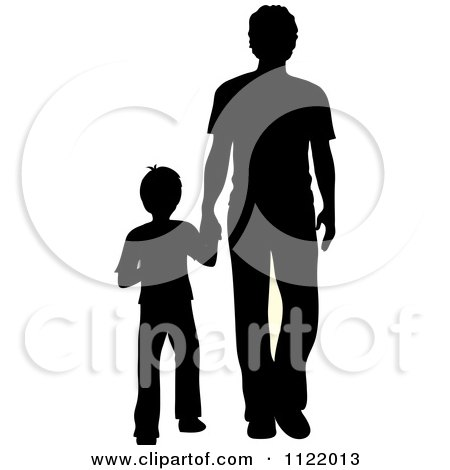 Clipart Of A Silhouetted Father And Son Holding Hands - Royalty Free Vector Illustration by Pams Clipart