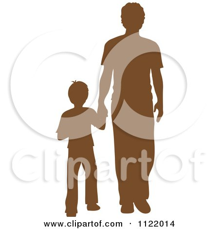 Clipart Of A Brown Silhouetted Father And Son Holding Hands - Royalty Free Vector Illustration by Pams Clipart