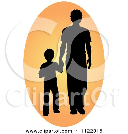 Clipart Of A Silhouetted Father And Son Holding Hands In An Oval - Royalty Free Vector Illustration by Pams Clipart