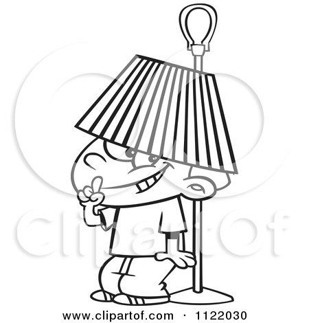 Cartoon Of An Outlined Boy Hiding Under A Lamp Shade - Royalty Free Vector Clipart by toonaday