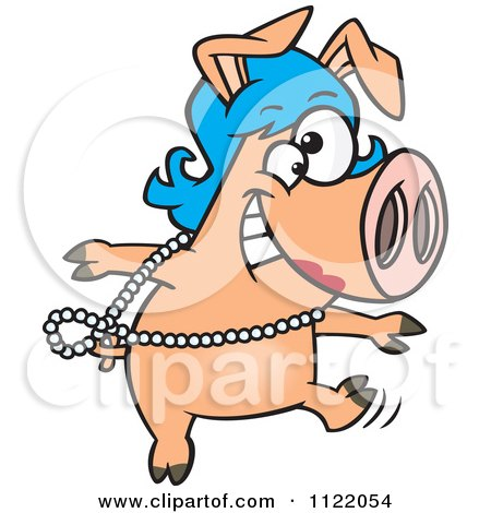 Cartoon Of A Dancing Pig In A Wig - Royalty Free Vector Clipart by toonaday