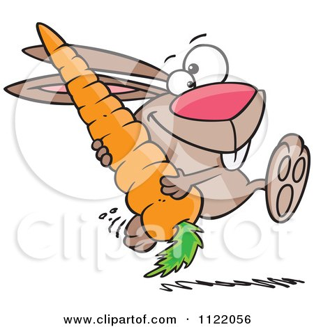 Cartoon Of A Happy Rabbit Carrying A Huge Carrot - Royalty Free ...