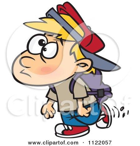 Cartoon Of A School Boy Walking - Royalty Free Vector Clipart by toonaday