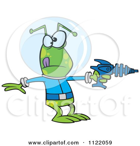 Cartoon Of An Alien Invader Pointing A Ray Gun Royalty Free Vector Clipart