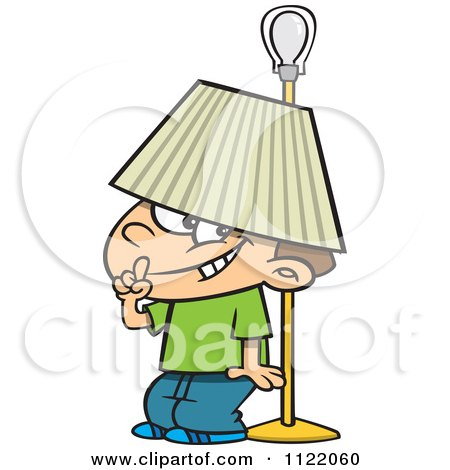 Cartoon Of A Boy Hiding Under A Lamp Shade - Royalty Free Vector Clipart by toonaday