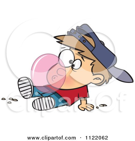 Cartoon Of A Boy Blowing A Bubble With Chewing Gum - Royalty Free Vector Clipart by toonaday