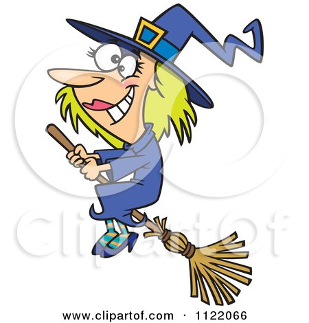 Cartoon Of A Happy Halloween Good Witch Flying On A Broom - Royalty Free Vector Clipart by toonaday