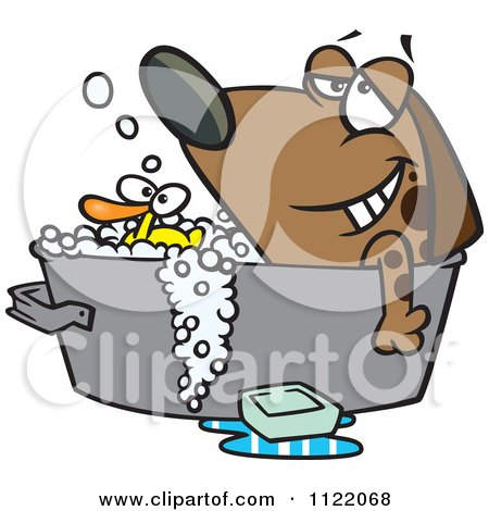 Cartoon Of A Relaxed Dog Bathing In A Tub With A Rubber Duck - Royalty Free Vector Clipart by toonaday