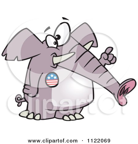 Cartoon Of A Republican Elephant Wearing A Button And Holding Up A Finger - Royalty Free Vector Clipart by toonaday