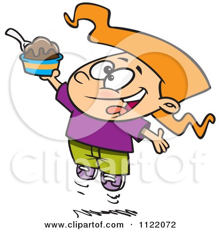 Cartoon Of A Happy Girl Jumping With An Ice Cream Sundae - Royalty Free Vector Clipart by toonaday