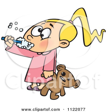 Cartoon Of A Girl Holding Her Teddy Bear And Brushing Her Teeth Before Bedtime - Royalty Free Vector Clipart by toonaday