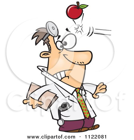 Cartoon Of An Apple Hitting A Doctor In The Head - Royalty Free Vector Clipart by toonaday