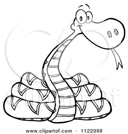 Cartoon Of An Outlined Coiled Snake - Royalty Free Vector Clipart by Hit Toon