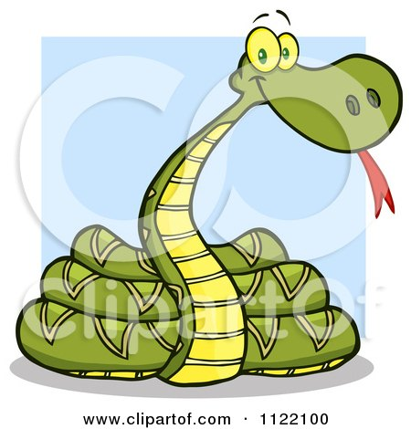 Cartoon Of An Outlined Coiled Snake