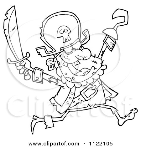 Cartoon Of An Outlined Running Zombie Pirate - Royalty Free Vector Clipart by Hit Toon