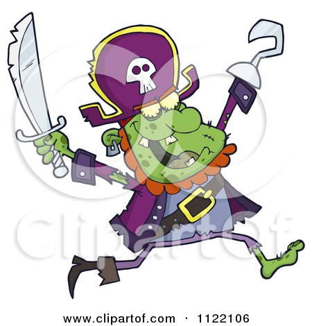 Cartoon Of A Running Zombie Pirate 1 - Royalty Free Vector Clipart by Hit Toon