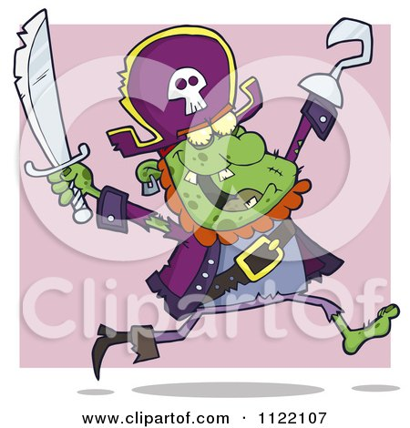Cartoon Of A Running Zombie Pirate Over Purple - Royalty Free Vector Clipart by Hit Toon