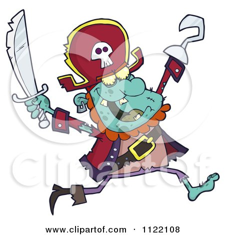 Cartoon Of A Running Zombie Pirate 2 - Royalty Free Vector Clipart by Hit Toon