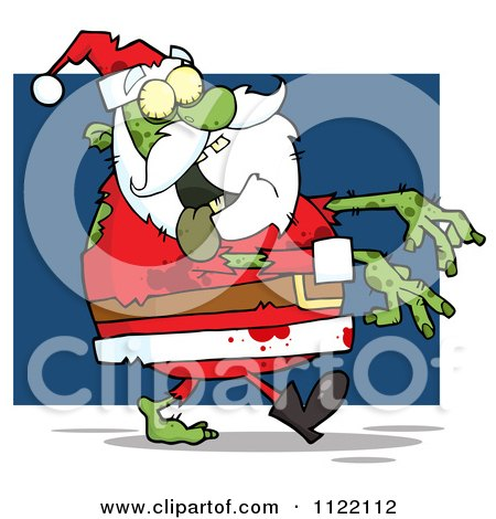 Cartoon Of A Zombie Santa Claus Over Blue - Royalty Free Vector Clipart by Hit Toon