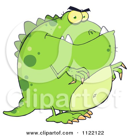 Cartoon Of A Green Dinosaur - Royalty Free Vector Clipart by Hit Toon